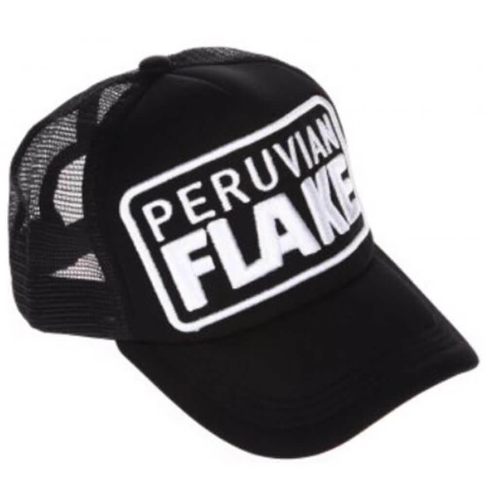 Peruvian Flake Clothing Peruvian Flake Trucker Hat - White on Black