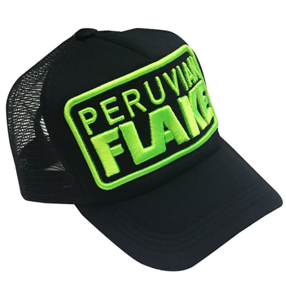 Peruvian Flake Clothing Peruvian Flake Trucker Hat - Green on Black