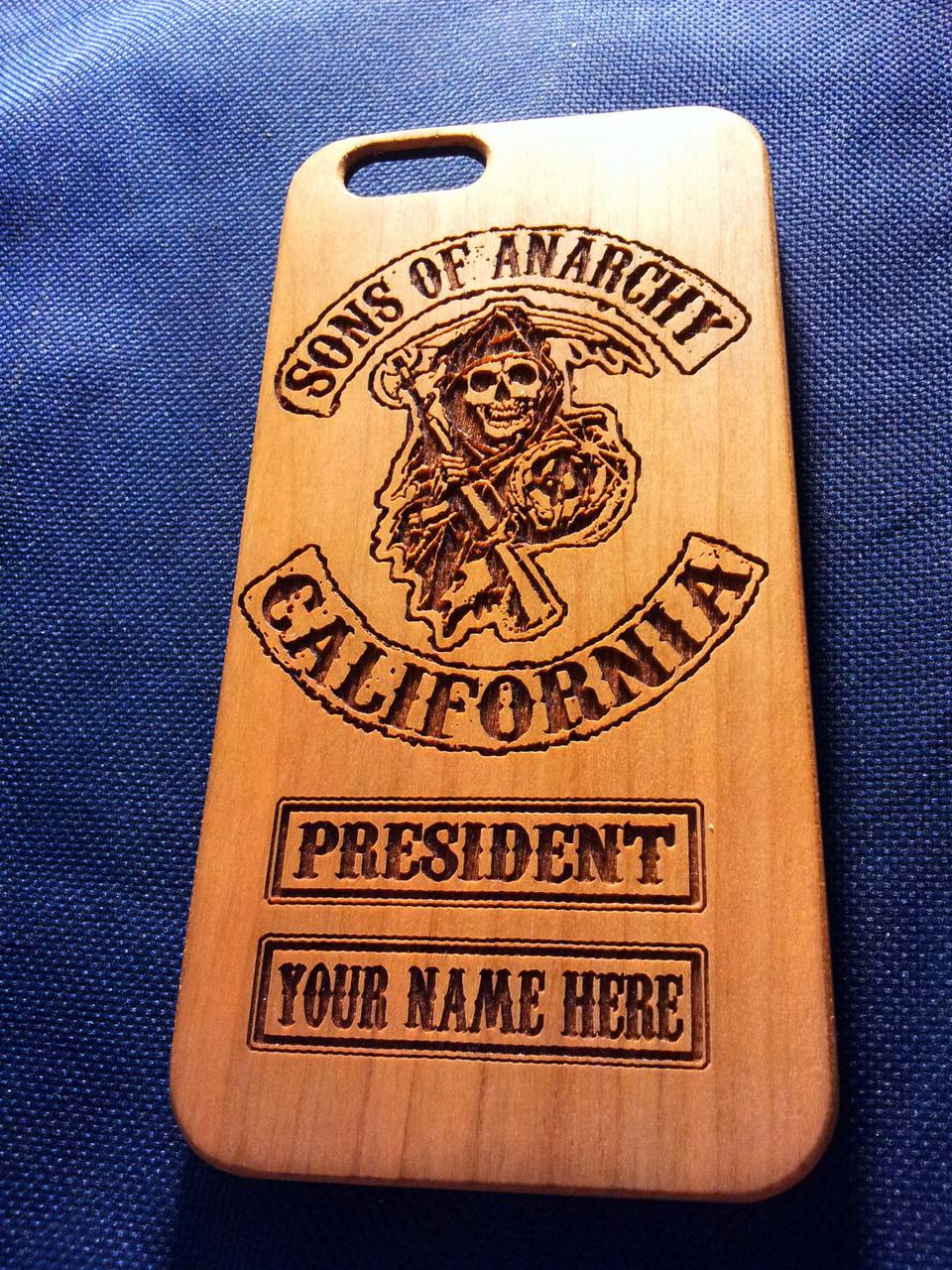 meet 75d48 242fa Sons of Anarchy Wood Phone Case - Laser Engraved Personalised Gift - iPhone  5 5s 6 plus Samsung s5 s6 - 28