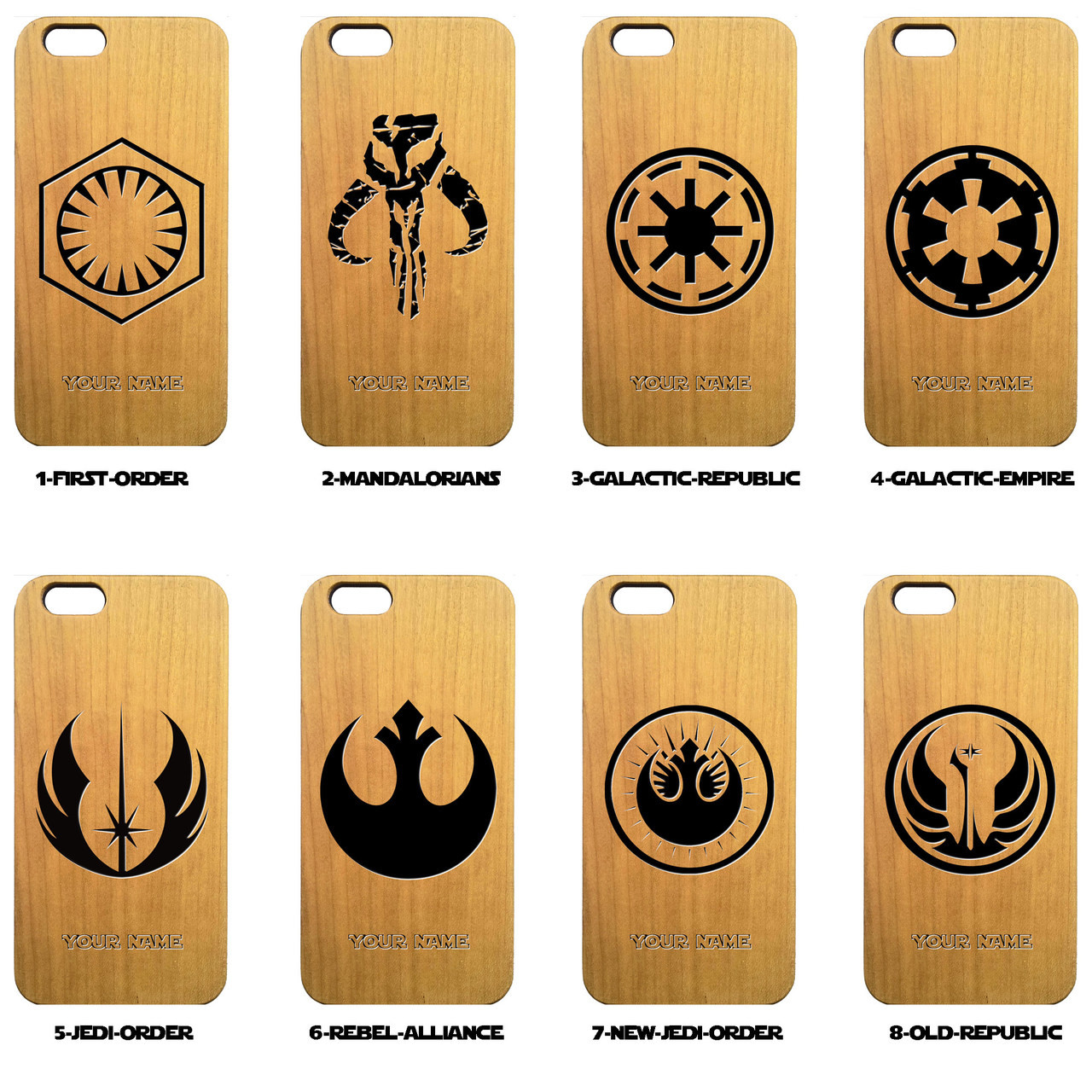Star Wars Symbols Wood Phone Case - Star Wars Inspired - Laser Engraved  Gift - iPhone 5 5s 6 6s 7 plus Samsung s5 s6 - 93