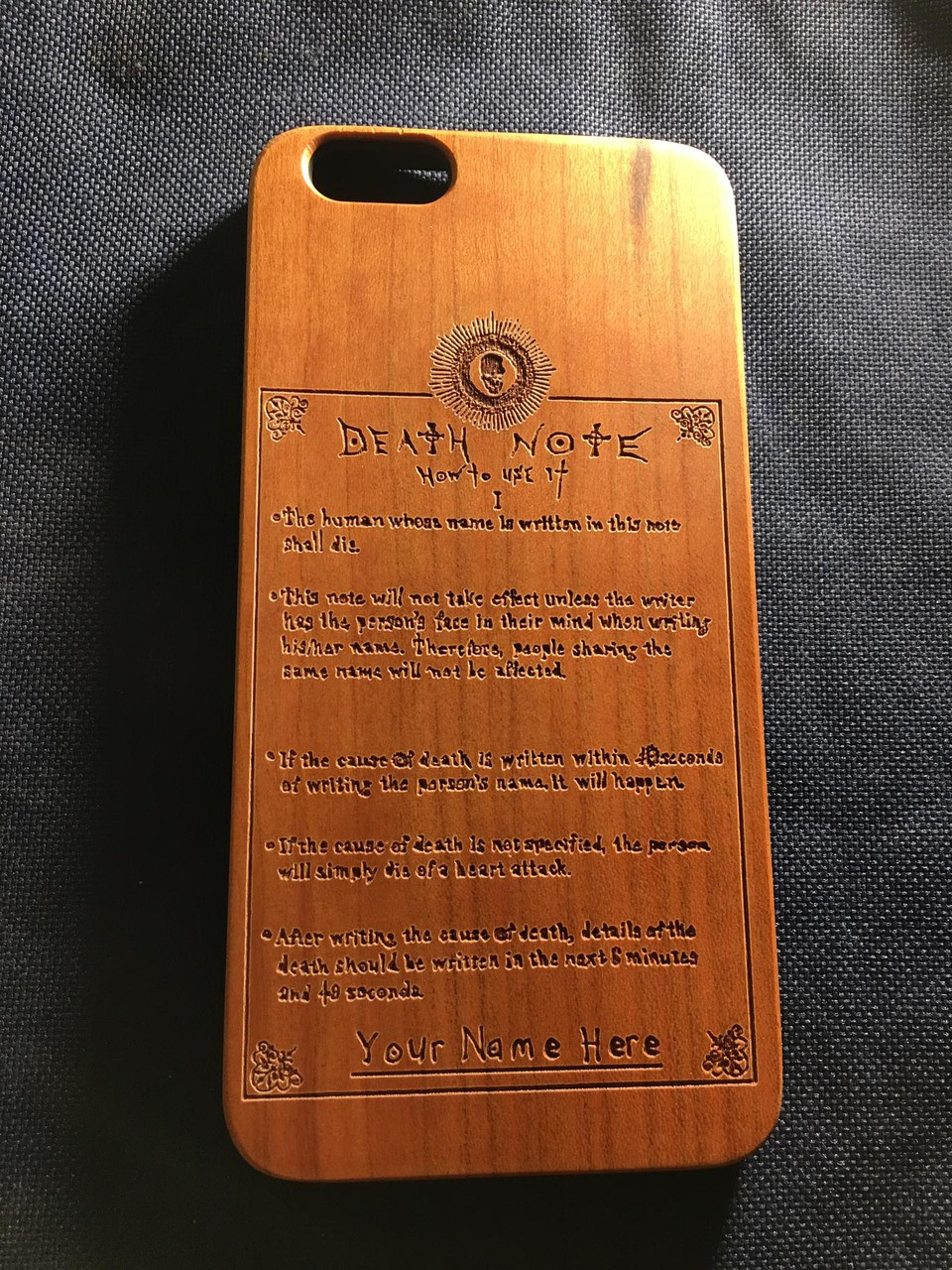 the best attitude b56a6 58ff8 Death Note Rules Wood Phone Case - Death Note Inspired - Laser Engraved  Gift - iPhone 5 5s 6 6s 7 plus Samsung s5 s6 - 99