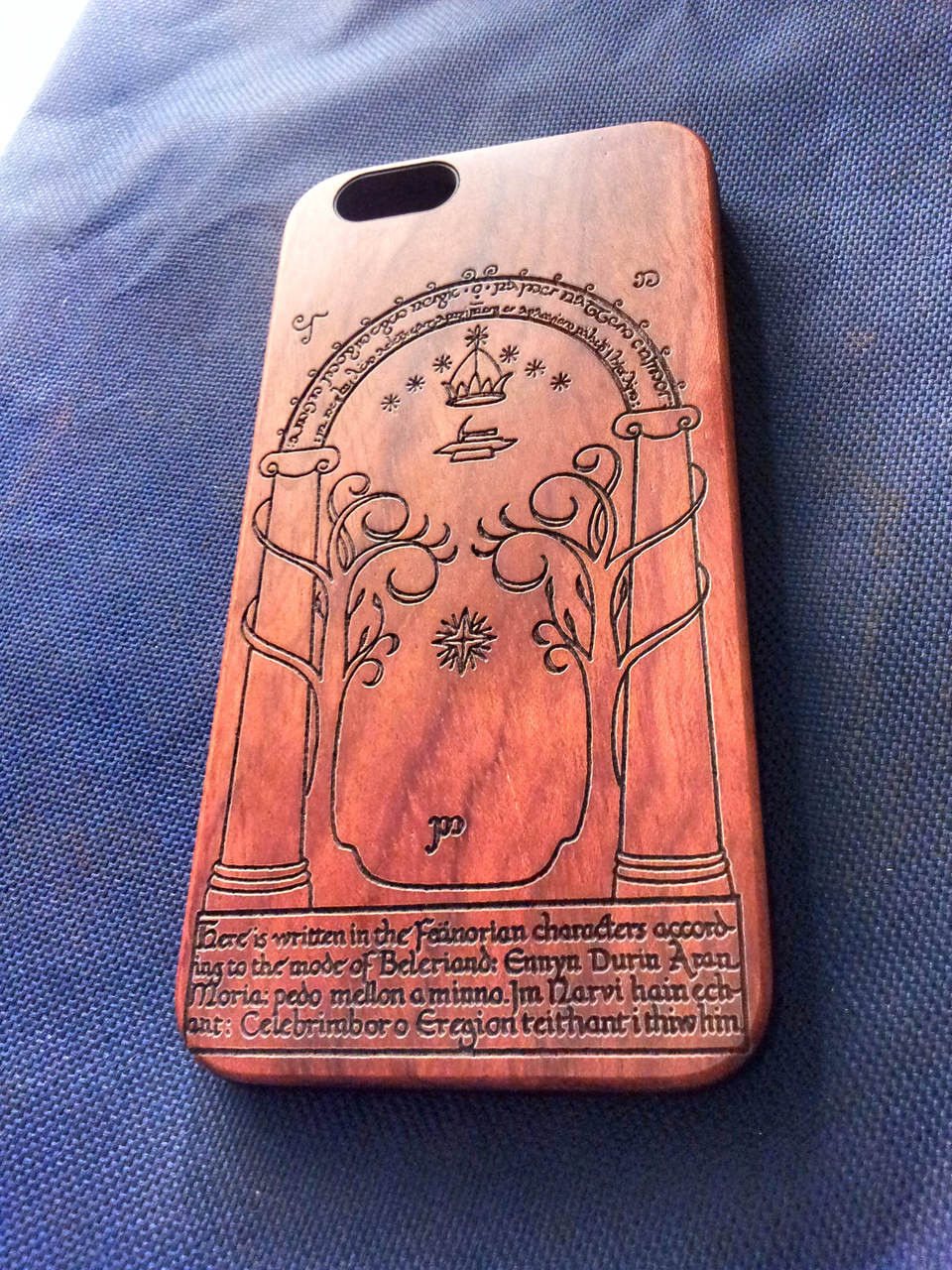 quality design de3e2 9449d Lord of The Rings Wood Phone Case - Hobbit Doors of Durin Inspired Laser  Engraved Personalised Gift - iPhone 5 5s 6 plus Samsung s5 s6 - 62