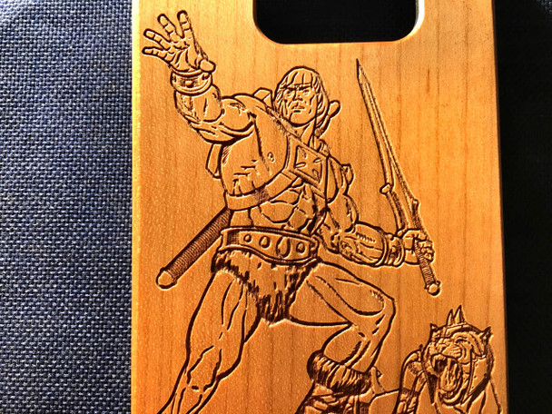 Heman Inspired Wood Phone Case - Laser Engraved Gift - iPhone 5 5s 6 plus Samsung s5 s6 - 79