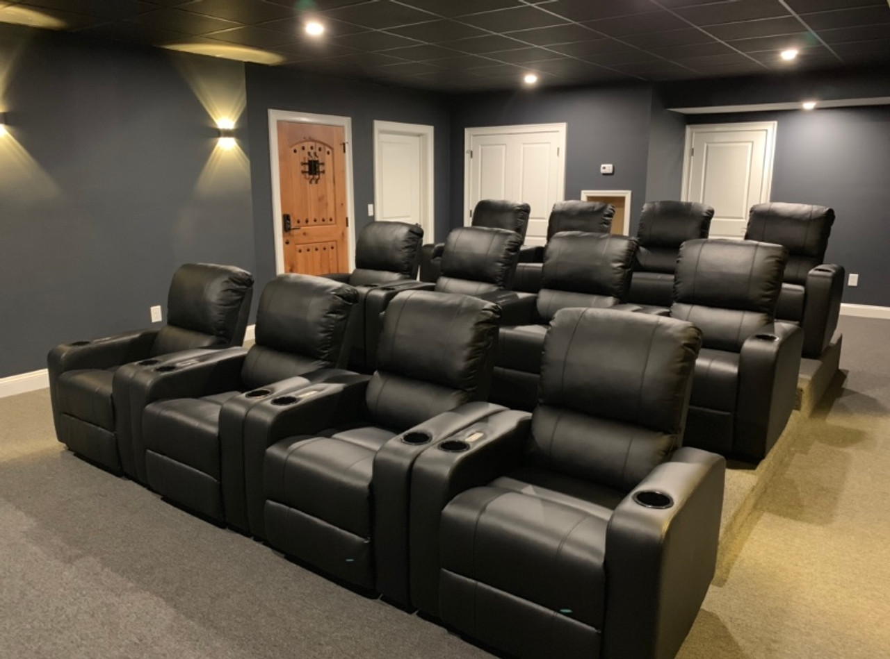 Leather Theater Recliner with USB