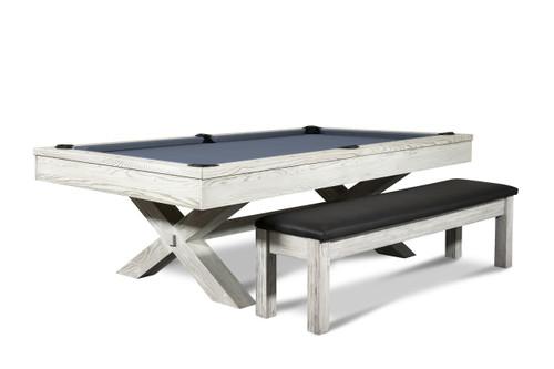 CrissyCross 8' Slate Pool Table | Whitewash