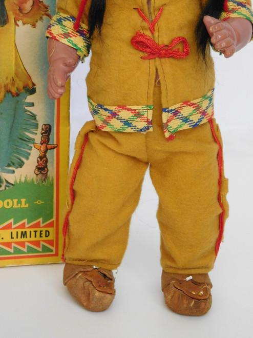 """1948 Reliable Doll (Canada) 13"""" HIAWATHA INDIAN A/O COMPOSITION NO.18138"""
