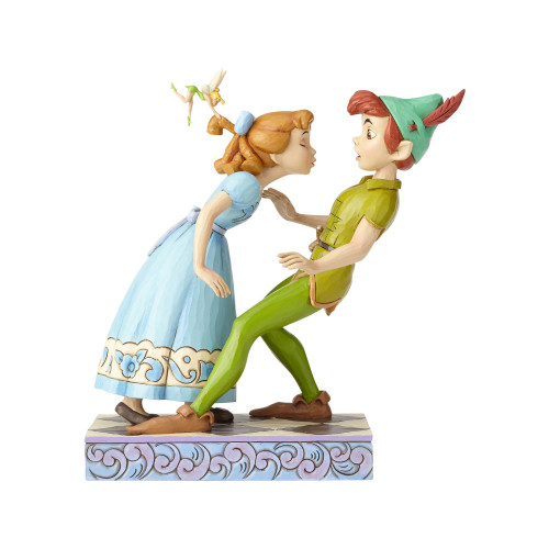 """PETER PAN, WENDY & TINK in """"AN UNEXPECTED KISS"""" by Jim Shore"""