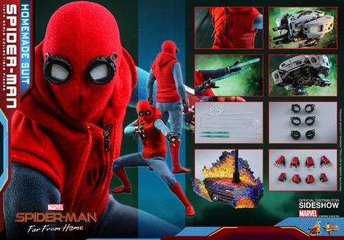 SPIDER-MAN & EDITH FAR FROM HOME (HOME-MADE SUIT) Sixth Scale Hot Toys Figure & Drone