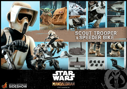 The Mandalorian: SCOUT TROOPER & SPEEDER BIKE Sixth Scale 1:6 Figure by Hot Toys - TMS017