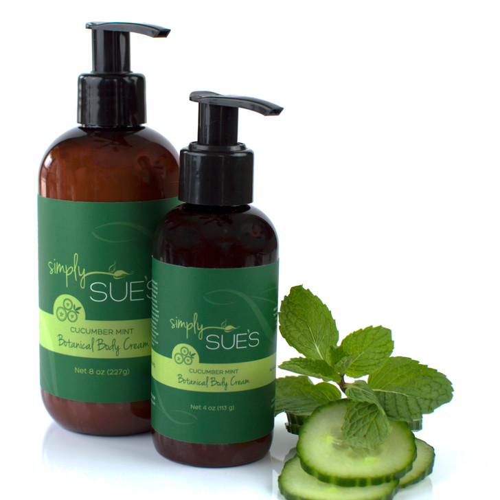 Simply Sue's Cucumber Mint Body Cream made with aloe vera juice and naturally scented with extracts in amber bottle with pump dispenser