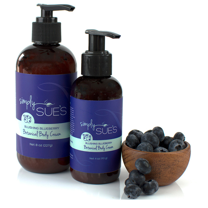 Simply Sue's Blushing Blueberry Body Cream made with aloe vera juice and naturally scented with extract in amber bottle with pump dispenser