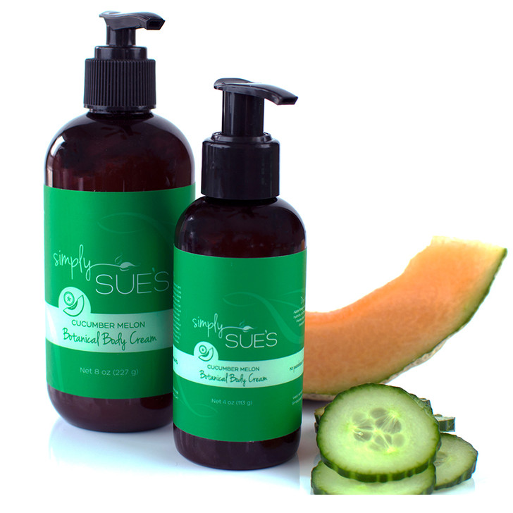 Simply Sue's Cucumber Melon Body Cream naturally scented with extracts in amber bottle with pump dispenser