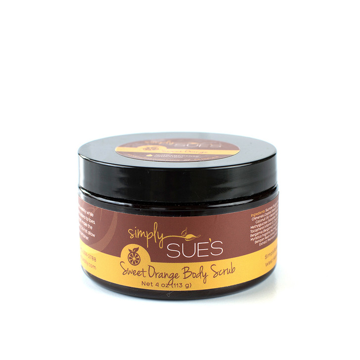 Simply Sue's Sweet Orange Body Scrub naturally scented with essential oils and extracts in amber jar