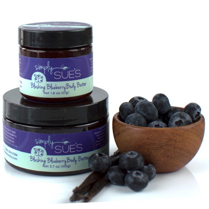Simply Sue's Blushing Blueberry Body Butter naturally scented with extracts in amber jar
