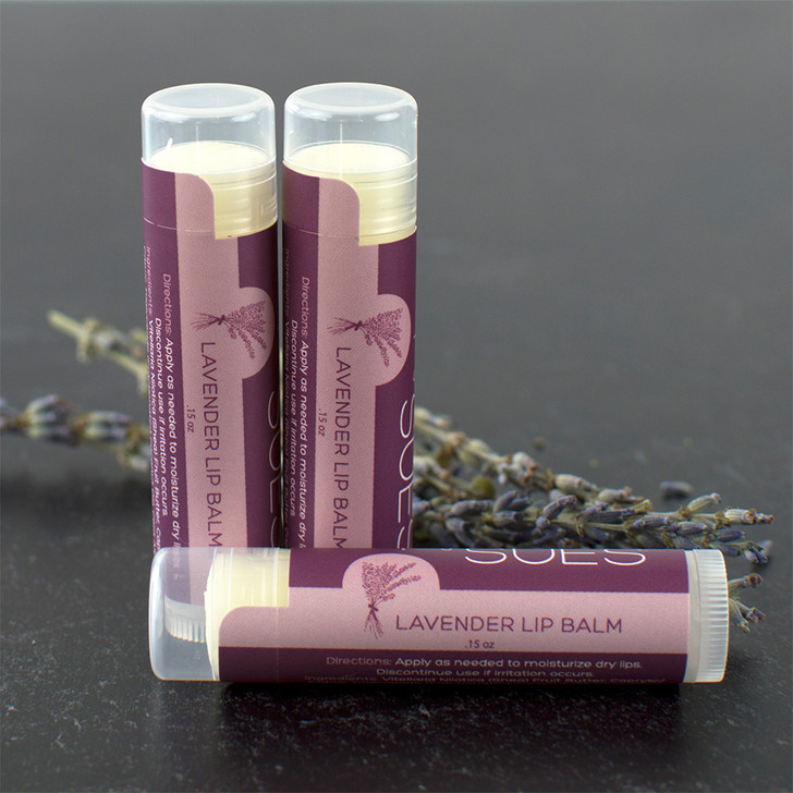 Simply Sue's natural, moisturizing lip balm made with organic french lavender essential oil in a twist up tube