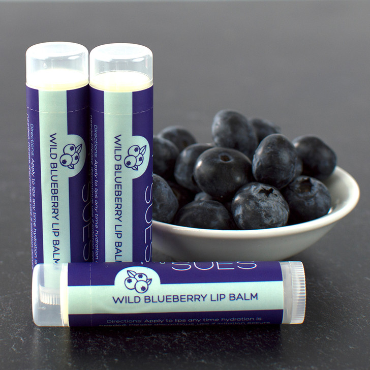 Simply Sue's natural, moisturizing blueberry lip balm in a twist up tube