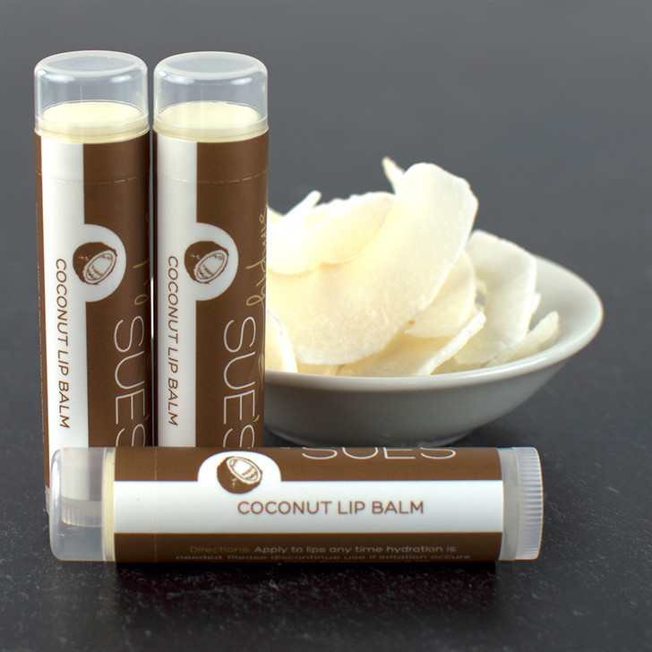 Simply Sue's natural, moisturizing coconut lip balm in a twist up tube