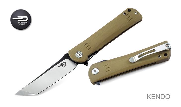 Bestech Knives BG06C-2 Kendo Knife Beige G-10 Handle Satin/Stonewash Plain Edge