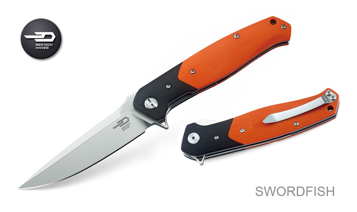 Bestech Knives BG03C Swordfish Black Orange G-10 Handle D2 Plain Edge