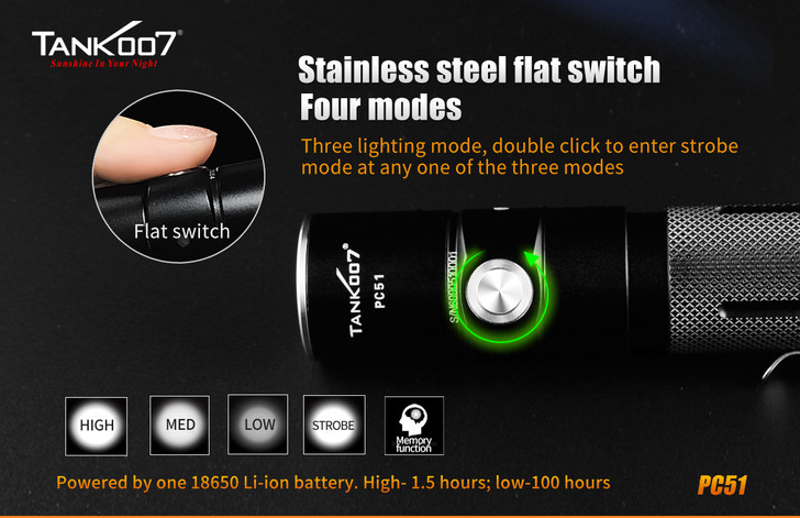 Tank007 PC51 USA CREE XM-L2 U2 LED USB Rechargeable Portable Flashlight