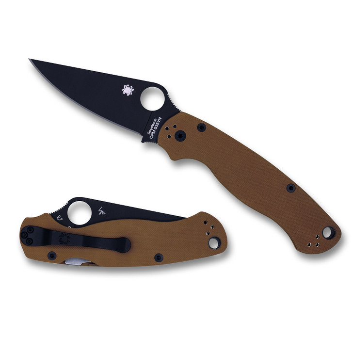 Spyderco Para 2 Folder 3.44 in Black Blade Plain Brown G-10