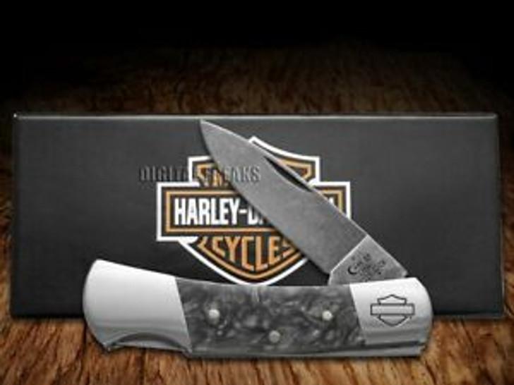 "CASE HARLEY-DAVIDSON LOCKBACK 3"" WITH BLACK SMOKE KIRINITE HANDLE AND STONEWASH FINISH CARBON STEEL BLADES MODEL 52211"