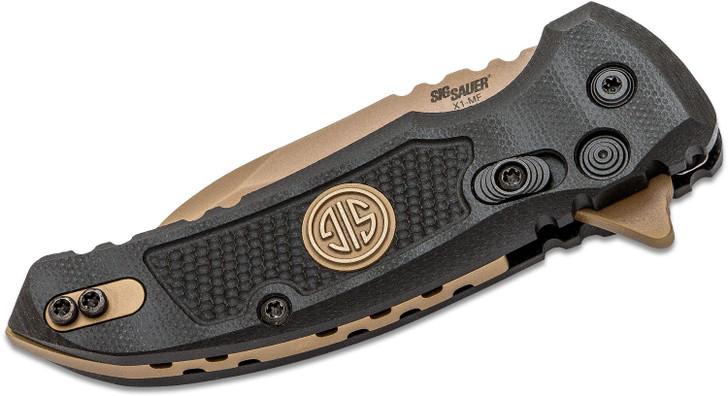 "SIG Sauer by Hogue Elishewitz X1-MicroFlip SIG Emperor Scorpion Flipper Knife 2.75"" 154CM FDE Wharncliffe Blade, Black G10 Handles"