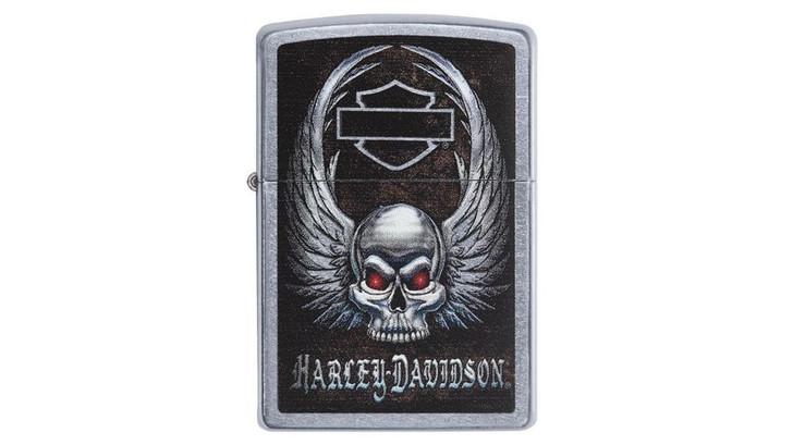 Zippo Harley Davidson Skull Street Chrome Pocket Lighter 29558
