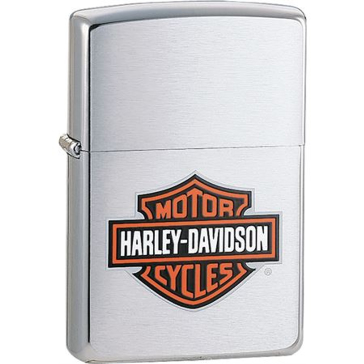 Zippo 13252 Harley Davidson Bar & Shield Logo Zippo Lighter with Brushed Chrome Finish