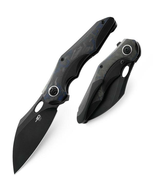 "Bestech Knives Nogard Flipper Knife 3.37"" M390 Black Stonewashed Modified Sheepsfoot Blade, Black Stonewashed Titanium and Blue Marbled Carbon Fiber Handles - BT2105B"