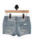 back shows blue denim shorts with 2 back pockets