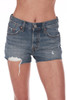 Front shows mid to high rise shorts with button fly front, distressing and raw hemline, front pockets, and the softest cotton denim material.