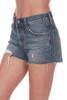 side shows mid to high rise shorts with button fly front, distressing and raw hemline, front pockets, and the softest cotton denim material.