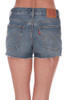 back shows mid to high rise shorts with distressing and raw hemline, two pockets,top right Levi's brand tag, and the softest cotton denim material.