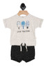 """Front shows two piece set featuring a snap-back top with """"stick together"""" with popsciles and specks printed at front and black and white speckled shorts with elastic waistband and bottom leg openings."""