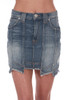 """Front shows denim skirt a """"step hem"""" with different lengths, vertical seems all around and a super soft & stretchy denim material."""