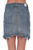 """Back shows denim skirt a """"step hem"""" with different lengths, vertical seems all around pockets, and a super soft & stretchy denim material."""