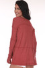 back shows red thermal with long sleeves and longer bottom hemline