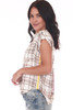 Side shows short sleeve blouse featuring a button up front with all over super soft white and brown plaid material, stripe up sides and contrasting flower patch at back.