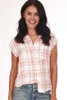 Front shows short sleeve blouse featuring a button up front with left breast pocket, super soft white and pink plaid material, stripe up sides. Shown paired with light blue jeans.