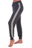 side shows charcoal grey jogger pants featuring the softest material, white stripes down both sides, elastic band & drawstring top at waist and cuffed ankle bottoms.