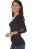 Side shows black top with 3/4 sleeve length & a wonderful rib-knit material, v-neckline with cut-outs at bottom arm.