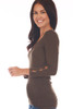 Side shows brown top with 3/4 sleeve length & a wonderful rib-knit material, v-neckline with cut-outs at bottom arm.