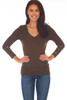 front shows brown top with 3/4 sleeve length & a wonderful rib-knit material, v-neckline with cut-outs at bottom arm.  Shown worn with blue jeans.