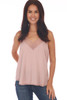 Front shows light rose colored cami top with lace trim v shape neck line and lace bottom, very thin spaghetti straps and a flowy silk-like material.