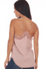 Back shows light rose colored cami top with lace trim and lace bottom, very thin spaghetti straps and a flowy silk-like material.