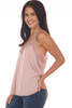 Side shows light rose colored cami top with lace trim v shape neck line and lace bottom, very thin spaghetti straps and a flowy silk-like material.