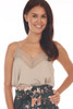 Front shows beige colored cami top with lace trim v shape neck line and lace bottom, very thin spaghetti straps and a flowy silk-like material.