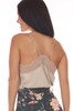 Back shows beige colored cami top with lace trim and lace bottom, very thin spaghetti straps and a flowy silk-like material.