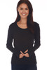 front shows black colored long sleeve featuring a scoop neckline, long sleeves with thumbholes, fitted body and the softest extra stretchy  material.